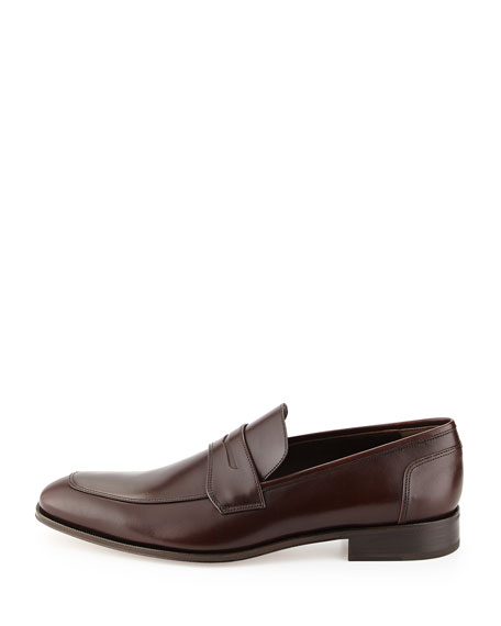 Men's Calfskin Penny Loafer, Brown