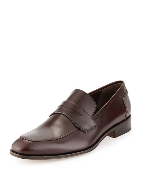 Salvatore Ferragamo Calfskin Penny Loafer, Brown