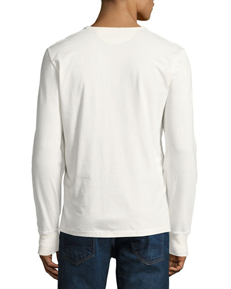 Cotton Henley Shirt, White