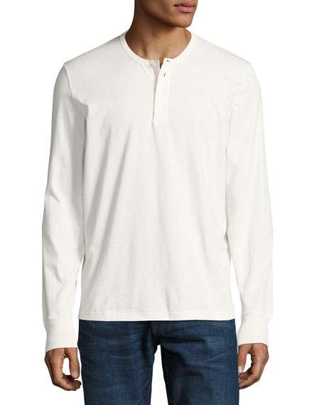 Cotton Henley Shirt, White