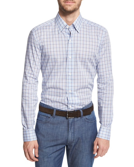 Ermenegildo Zegna Multi-Check Long-Sleeve Sport Shirt, Blue
