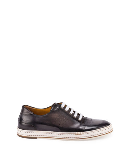 Men's Playtime Perforated Leather Sneakers, Dark Gray