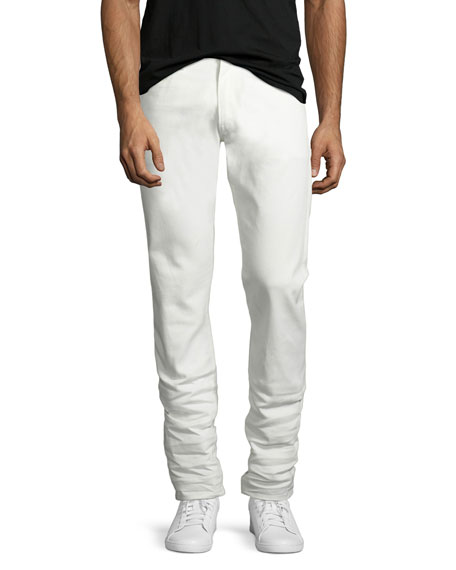 Five-Pocket Stretch-Cotton Pants, White