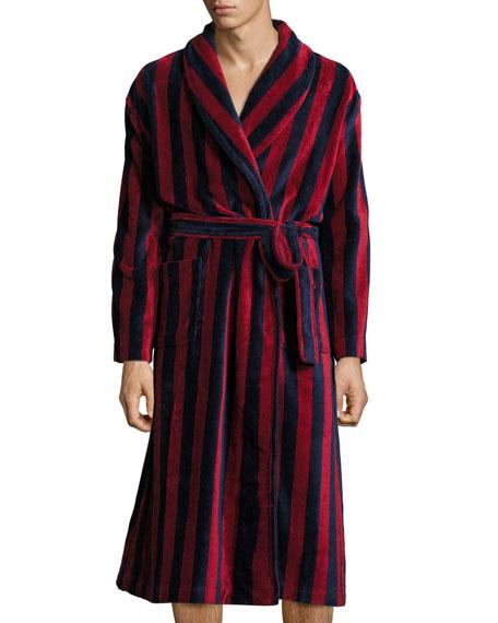 Striped Velour Robe, Navy/Burgundy