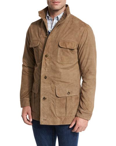 Suede Safari Jacket, Beige