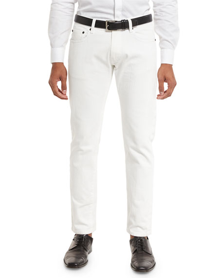 Giorgio Armani Slim-Straight Denim Jeans, White
