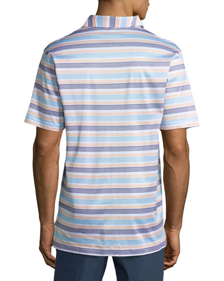 Johnson Striped Cotton Lisle Polo Shirt