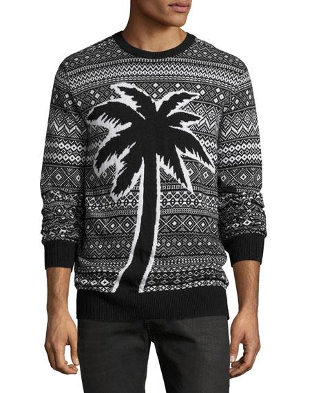 Diesel Palm Fair Isle Sweater, Black