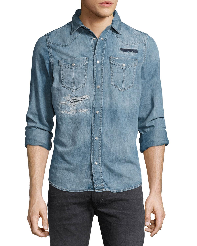 7f03a28dbb Diesel Distressed Denim Western Shirt