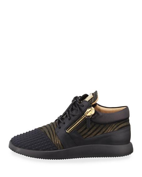 Men's Metallic Neoprene & Leather Trainer Sneakers