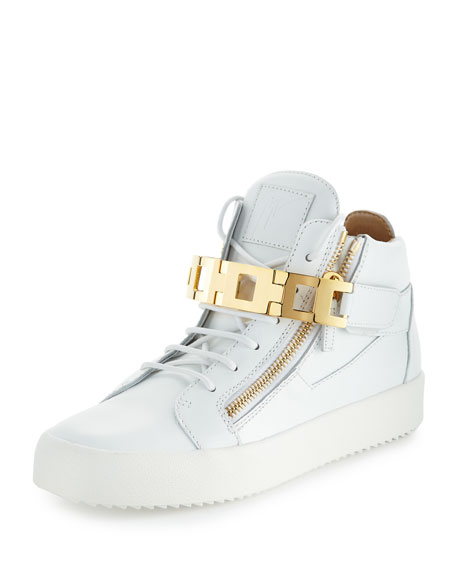 Giuseppe Zanotti Men's Leather Mid-Top Sneaker w/Link-Bracelet