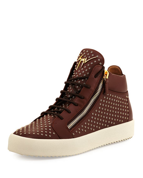 Giuseppe Zanotti Leather Mid-Top Sneaker with Eyelets, Brown