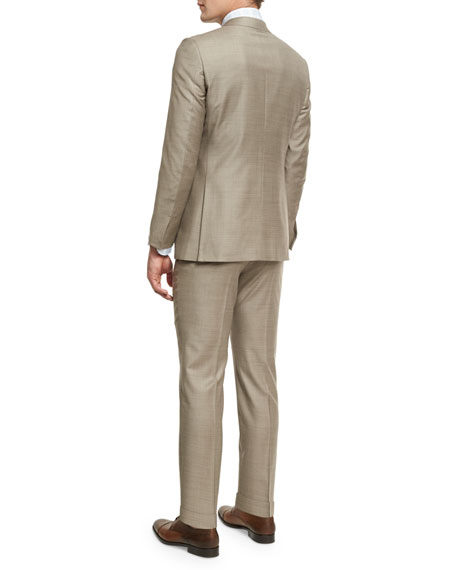 Sharkskin Two-Piece Suit, Tan