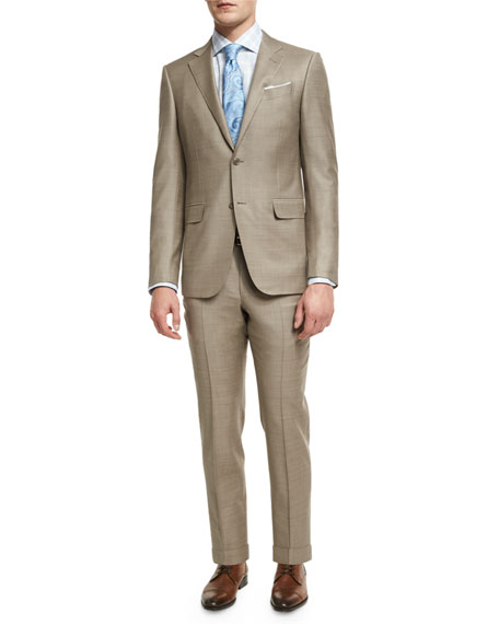Ermenegildo Zegna Sharkskin Two-Piece Suit, Tan