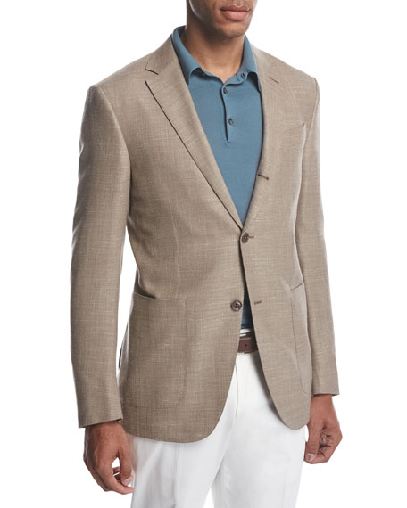 Ermenegildo Zegna Three-Button Wool-Silk-Linen Blazer, Tan