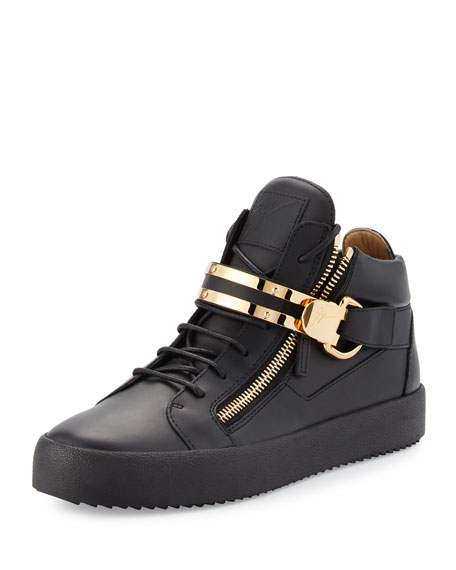 Men's Leather Mid-Top Sneaker w/Double-Bar Strap, Black