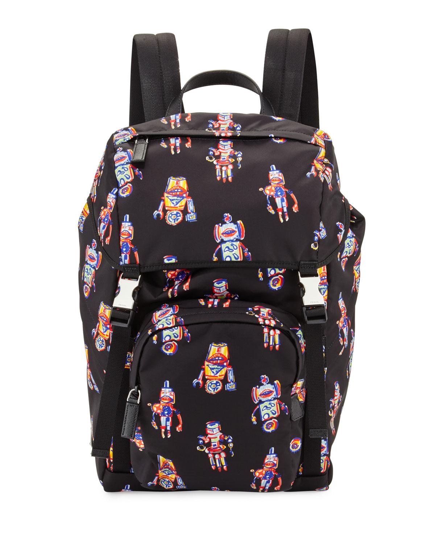5d58cc9aff2a3d Prada Robot Nylon Utilitarian Backpack, Black | Neiman Marcus