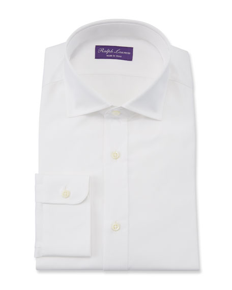 Image 1 of 3: Ralph Lauren Purple Label Bond Basic Pleated Barrel-Cuff Dress Shirt