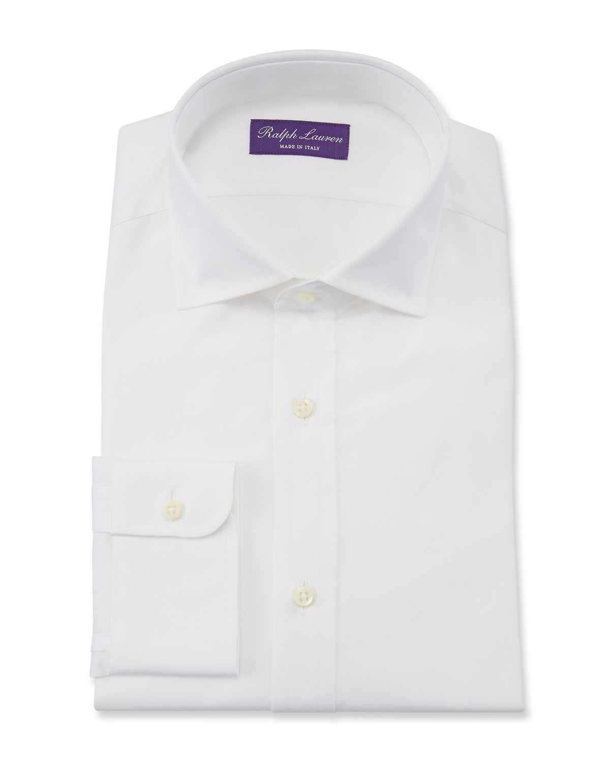Ralph Lauren Purple Label Bond Basic Pleated Barrel-Cuff Dress Shirt