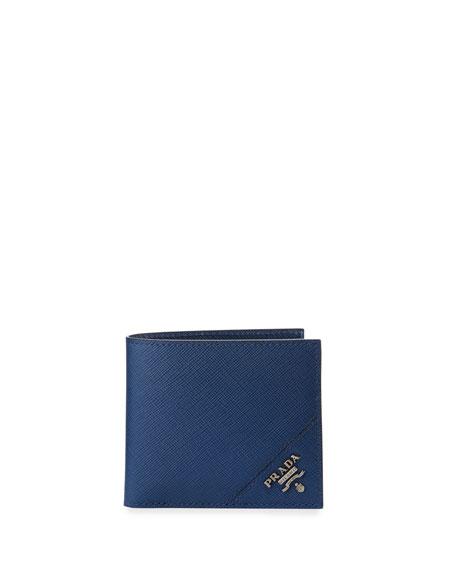 Saffiano Corner Logo Wallet