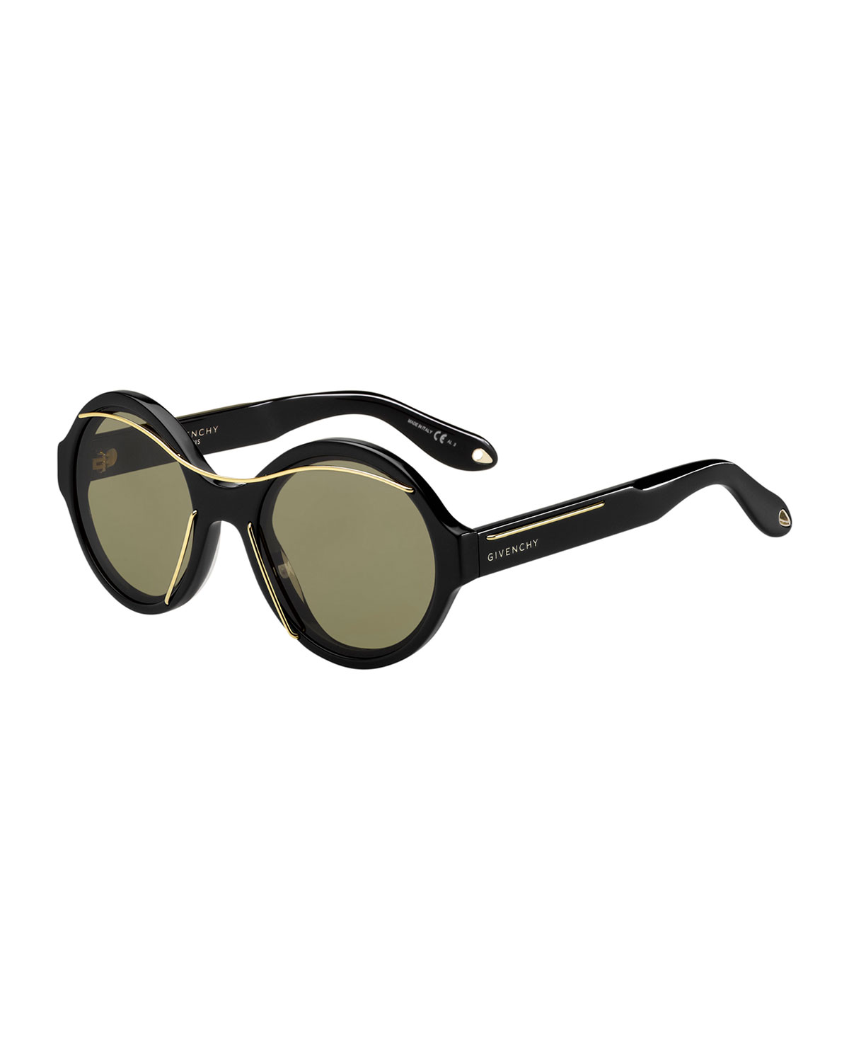 Givenchy Round Acetate Sunglasses w/Metal Wires | Neiman Marcus