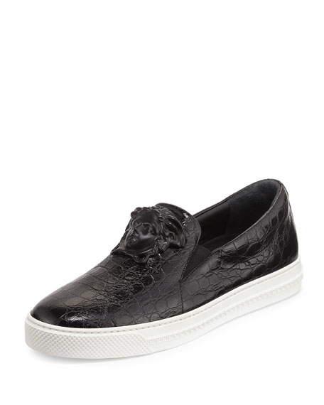 Palazzo Idol Crocodile-Embossed Leather Slip-On Sneaker, Black
