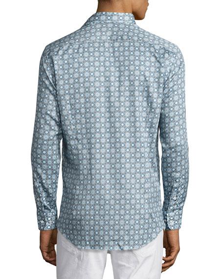 Mosaic Tile-Print Sport Shirt