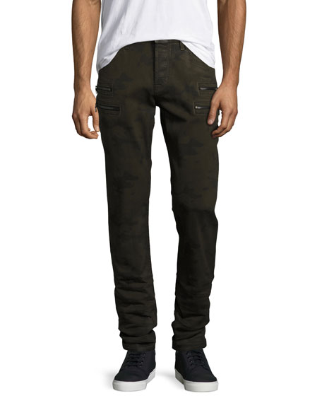 Hudson Broderick Slouchy Skinny Jeans, Olive Camo