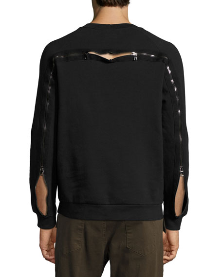 Enzo Exposed-Zipper Raglan Sweatshirt, Black