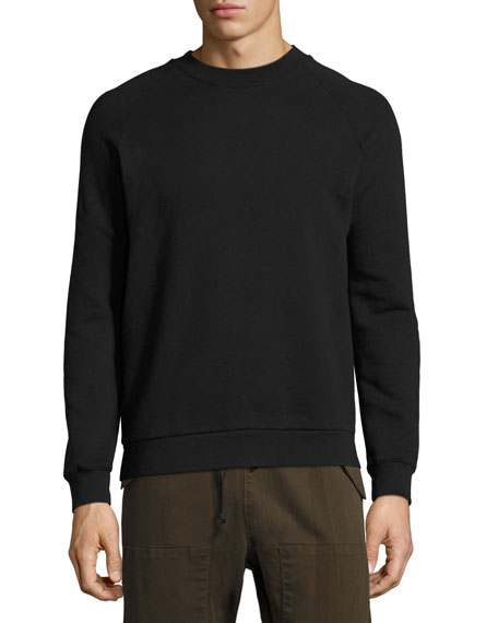 Hudson Enzo Exposed-Zipper Raglan Sweatshirt, Black