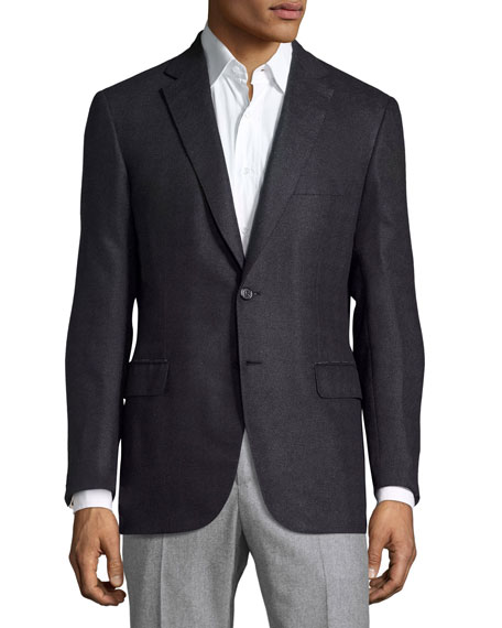 Tonal Houndstooth Two-Button Sport Coat, Navy/Gray