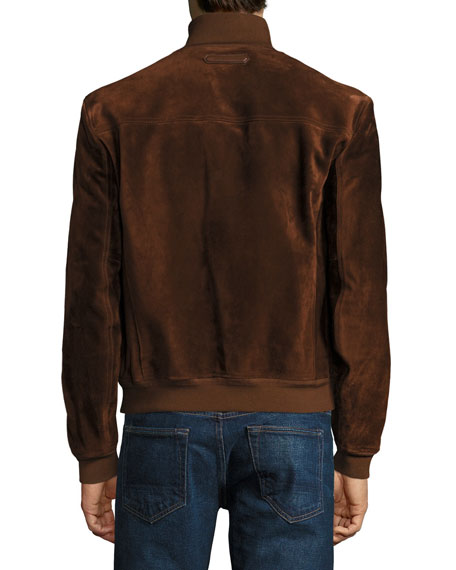 Suede Button-Front Blouson Jacket, Red Rust