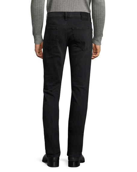 Straight-Fit Denim Jeans, Worn Black
