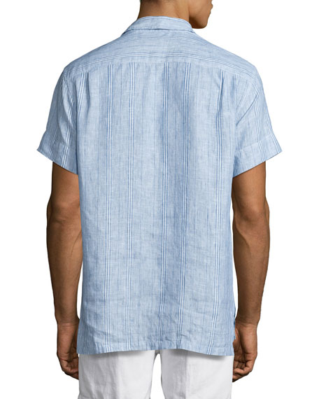 Patrick Striped Linen Polo Shirt, Iris/Cloud