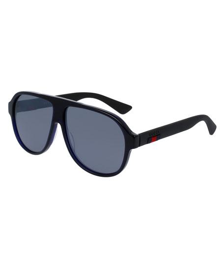 Gucci Acetate Aviator Sunglasses w/Web, Blue
