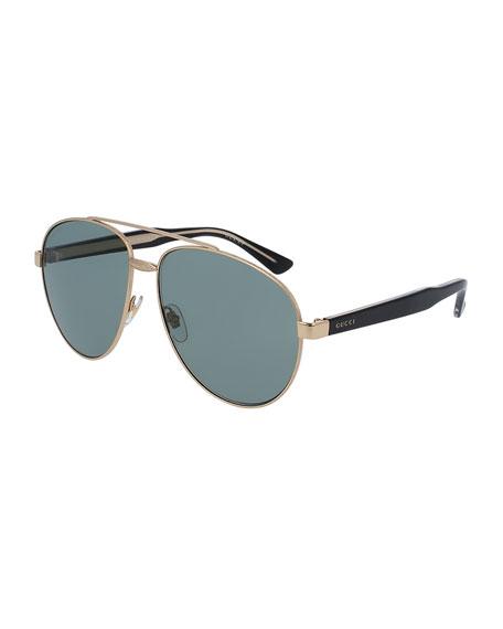Gucci Runway Metal Aviator Sunglasses, Gold/Black