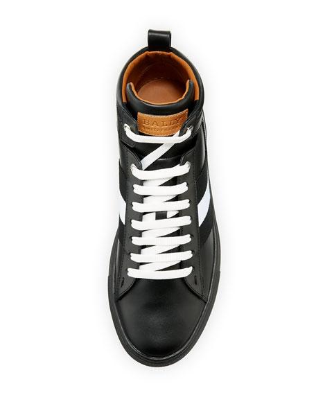 Vitello High-Top Sneaker with Trainspotting Stripe, Black