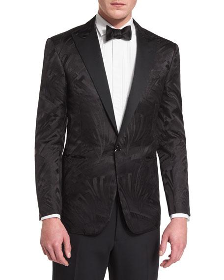 Tonal Art Deco Jacquard Tuxedo Jacket, Black