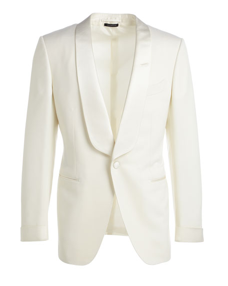 TOM FORD O'Connor Base Satin-Lapel Wool Jacket, Ivory