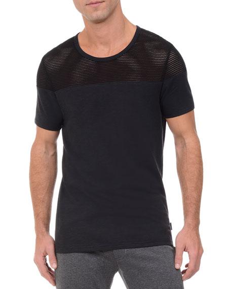 2Xist Mesh Panel Textured Jersey T-Shirt