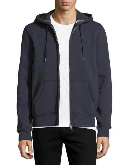 Burberry Claredon Jersey Hoodie w/Check Lining, Navy