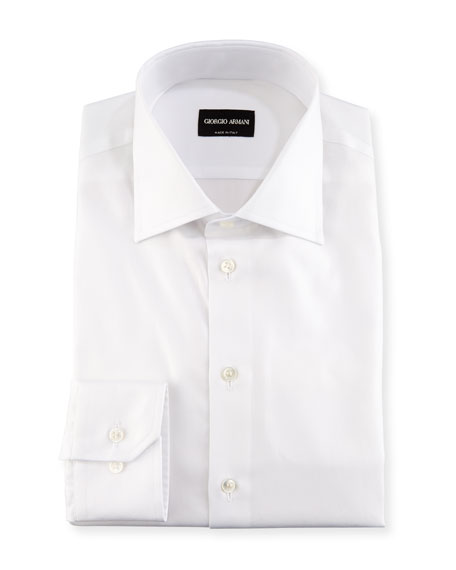 Image 1 of 3: Giorgio Armani Solid Cotton Dress Shirt, White