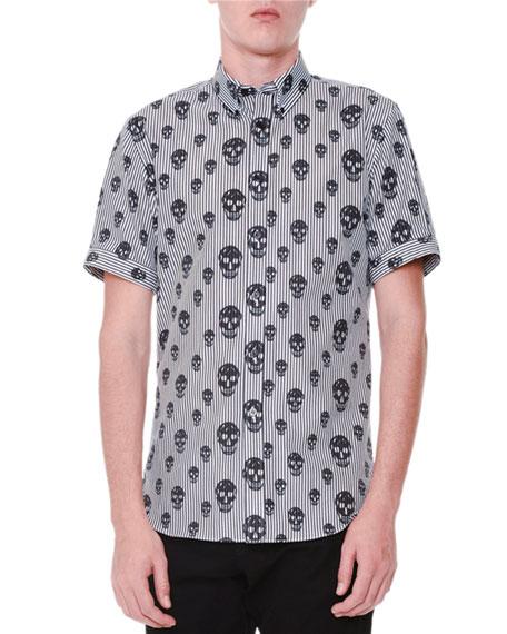 Alexander McQueen Skull-Print Striped Short-Sleeve Shirt