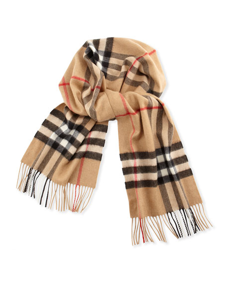 Cashmere Exploded Check Scarf, Camel