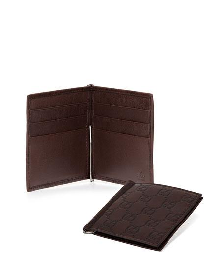 Guccissima Money Clip Wallet, Chocolate