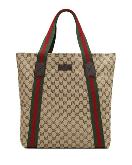 Gucci Brown Striped Coated Canvas Tote Bag 2fVqxHRMd