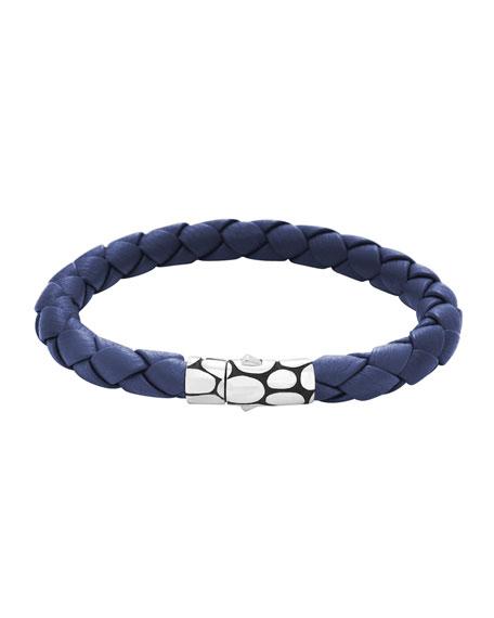 Kali Woven Leather Bracelet, Blue