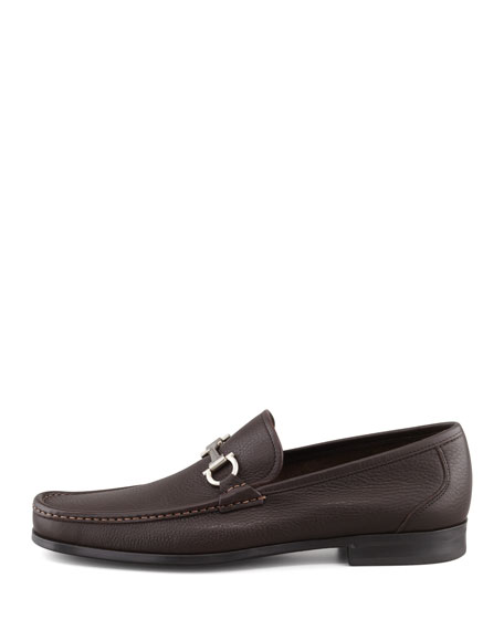 Textured Calfskin Gancini Loafer with Rubber Sole, Brown