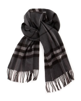 Burberry Exploded Check Cashmere Scarf, Charcoal
