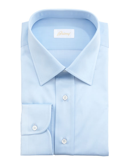 Brioni Barrel-Cuff Dress Shirt, Light Blue